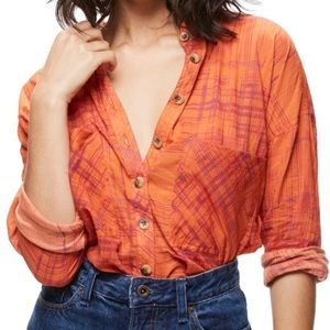 Free People Sunset Combo Button Down Top Large